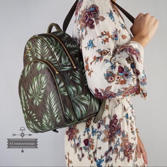 a0b946d877b3 Michael Kors Abbey Medium Brown Backpack Olive